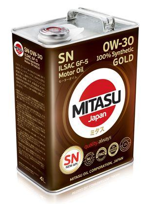 MITASU 0W-30 4L GOLD  PAO SN API SN;  ILSAC GF-5;