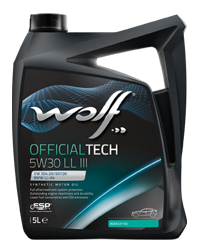 WOLF OFFICIALTECH 5W30 LL III 5L MB 229.51 VW 504.00/507.00 BMW LONGLIFE-04 PORSCHE C30, ACEA C3