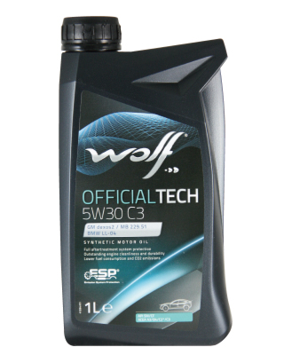 WOLF OFFICIALTECH 5W30 C3 1л  GM DEXOS 2 License n° RB2A0308012 MB 229.51 VW 502.00/505.00 VW 505.01 BMW LONGLIFE-04, API SM/CF ACEA A3/B4, C3