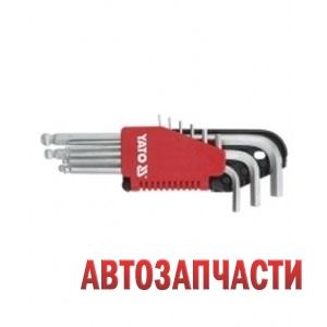 Набор ключей YATO (6 гр.) Г-образных длинных (L=90-225 мм) с шаром 9 пр: 1.5, 2, 2.5, 3, 4, 5, 6, 8, 10 мм, в пластм. держателе