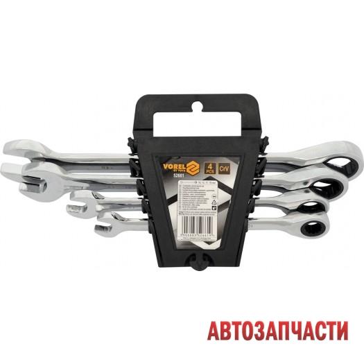 Набор ключей 4 пр: VOREL  10, 13, 17, 19 мм, комбинированные, трещеточные