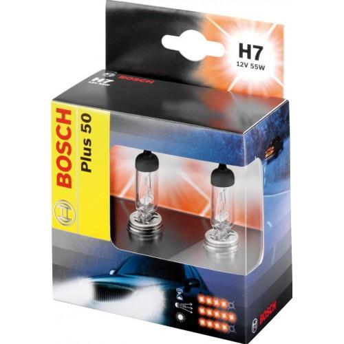 Комплект ламп BOSCH H7 Plus 50 (PX26d, 12V 55W)