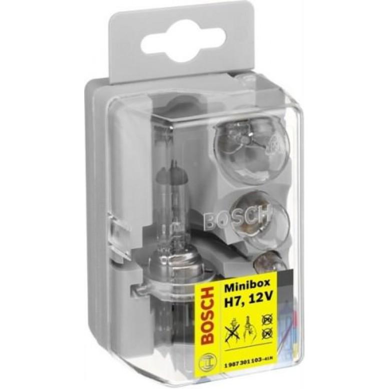 Комплект ламп BOSCH H7 Minibox (P21W, R5W, T4W, 1x10A, 1x15A, 1x20A)