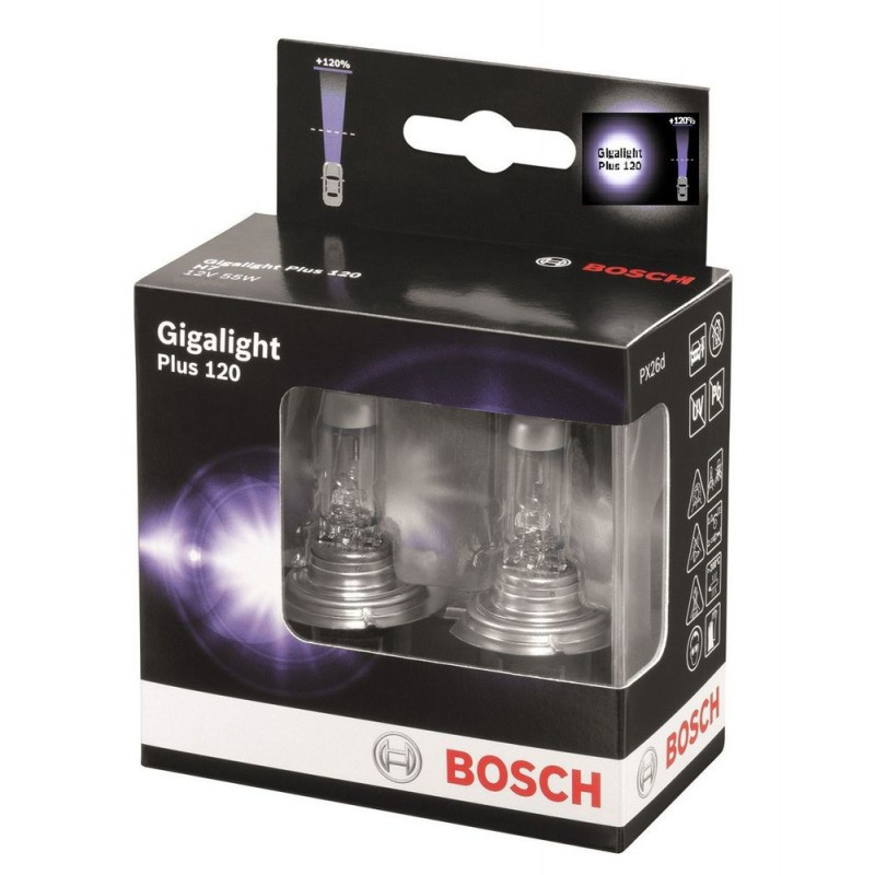 Комплект ламп BOSCH H7 Gigalight Plus 120 (12V 55W PX26d)