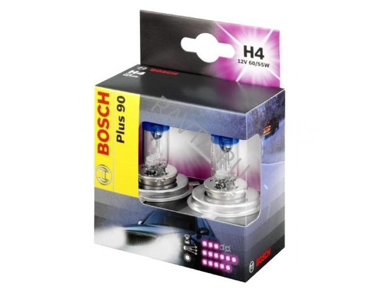 Комплект ламп BOSCH H4 Plus 90 (12V 60/55W P43t)