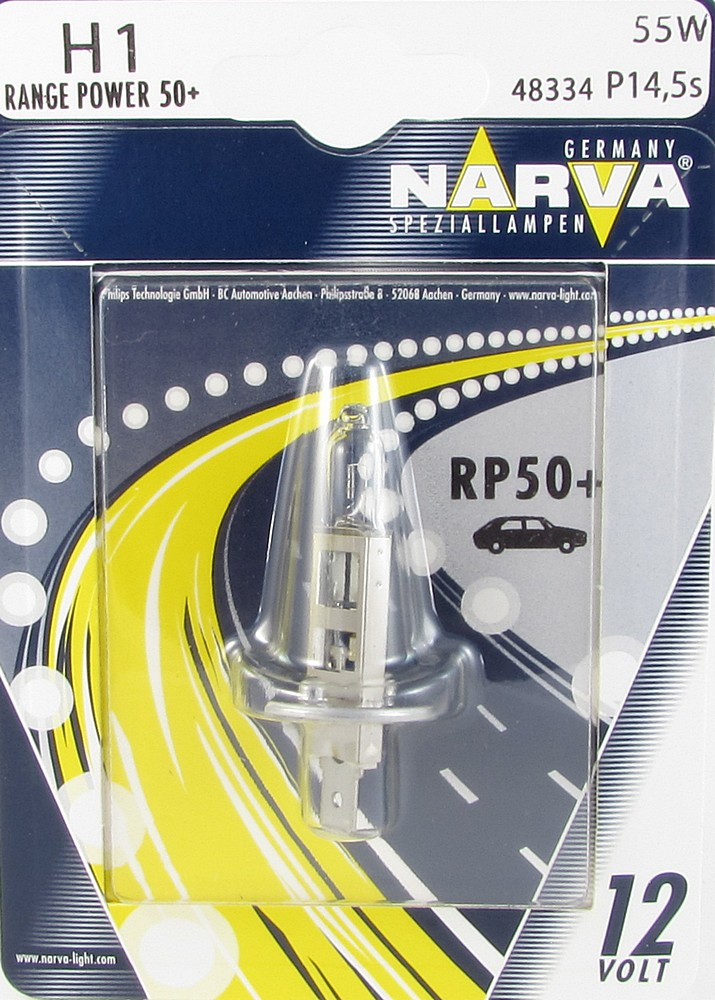 Автолампа NARVA H1 Range Power +50 (12V 55W P14,5S)  блистер