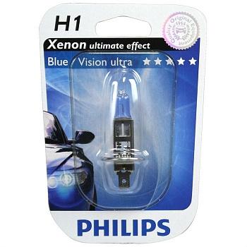 Автолампа Philips H1 BlueVision Ultra (12V 55W P14,5s)