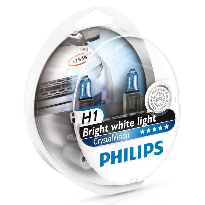 Автолампа Philips H1 Cristal Vision + 2x  (W5W, 12V, 55W, P14,5s)