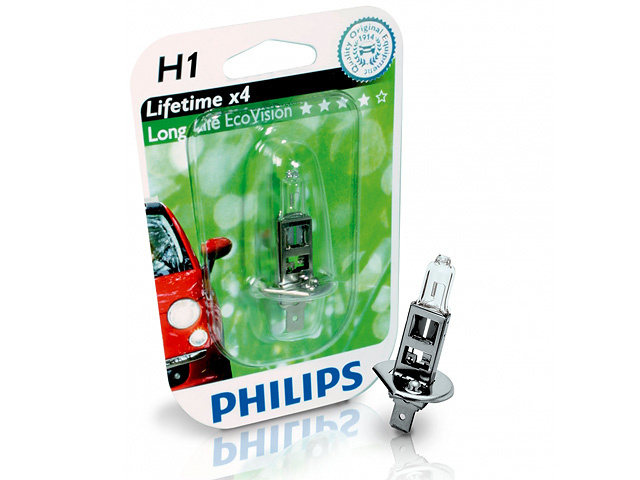 Автолампа Philips H1 Longer Life Eco Vision (12V, 55W, P14,5s)
