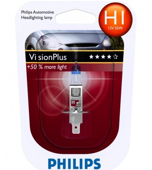 Автолампа Philips H1 Vision Plus +50% (12V 55W P14,5s)