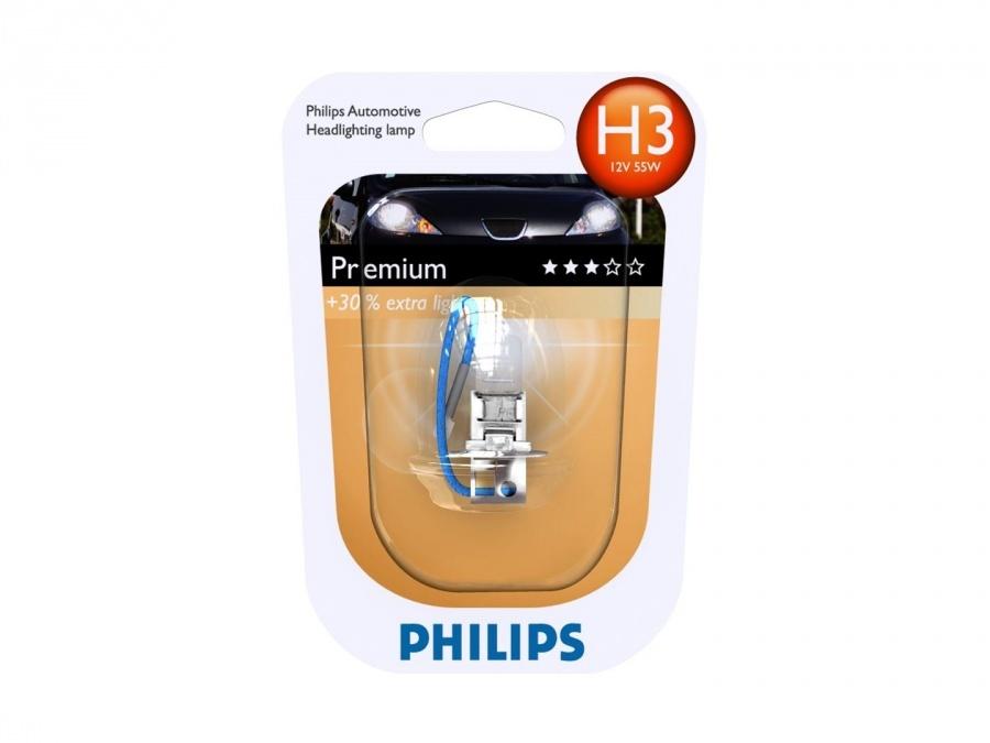 Автолампа Philips H3 Premium +30% (12V 55W PK22s)