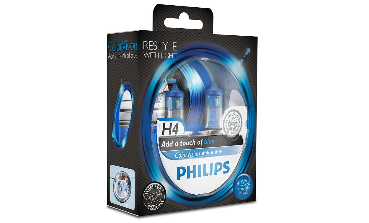 Автолампа Philips H4 Color Vision Blue (12V 60/55W P43t-38)