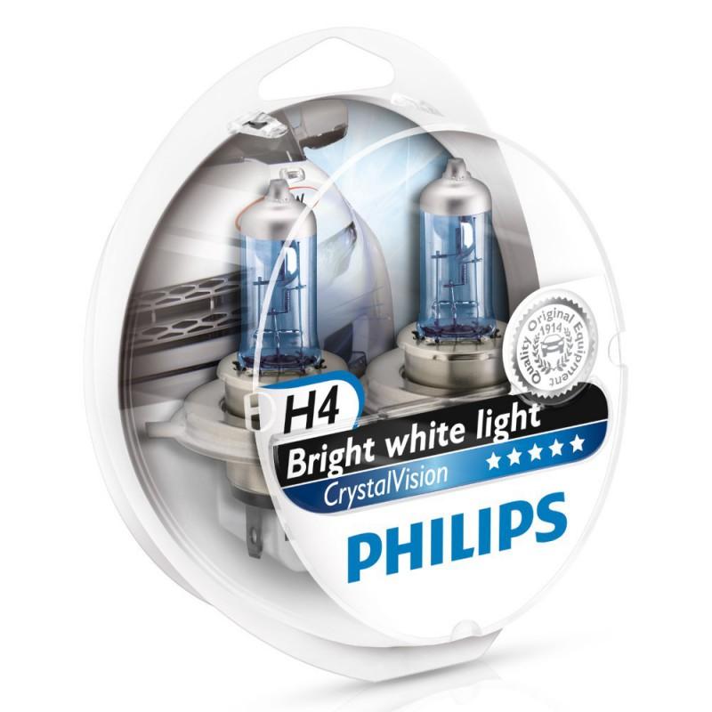 Автолампа Philips H4 Cristal Vision (W5W, 12V 55W P43t-38)