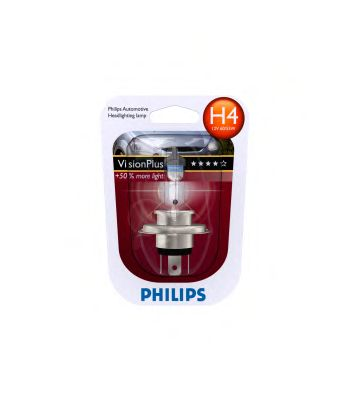 Автолампа Philips H4 Vision Plus +50% (12V 60/55W P43t-38)