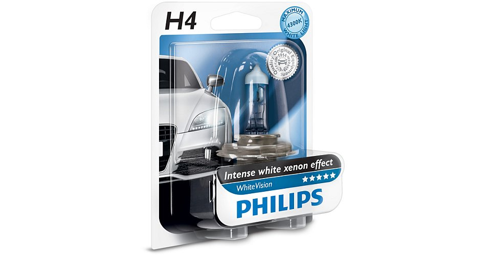 Автолампа Philips H4 White Vision +60% (12V 60/55W P43t-38)