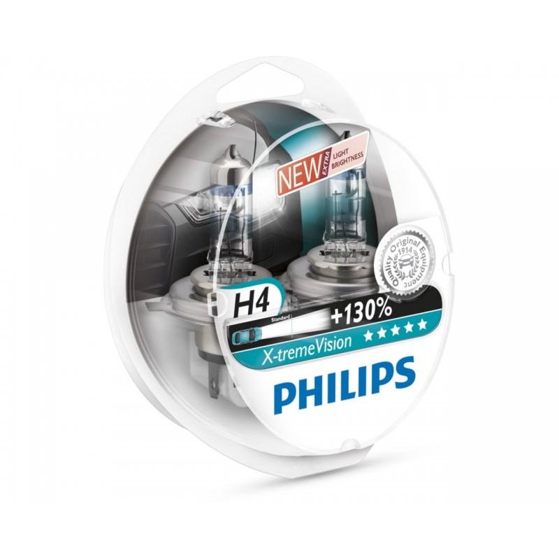 Автолампа Philips H4 X-treme VISION +130% (12V 60/55W P43t-38)