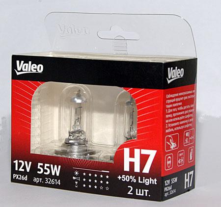 Комплект ламп Valeo Н7 Light +50% (12V 55W PX26d)