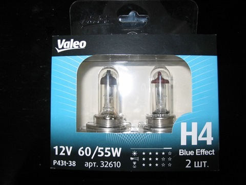Комплект ламп Valeo Н4 Blue Effect (12V 60/55W P43t-38)