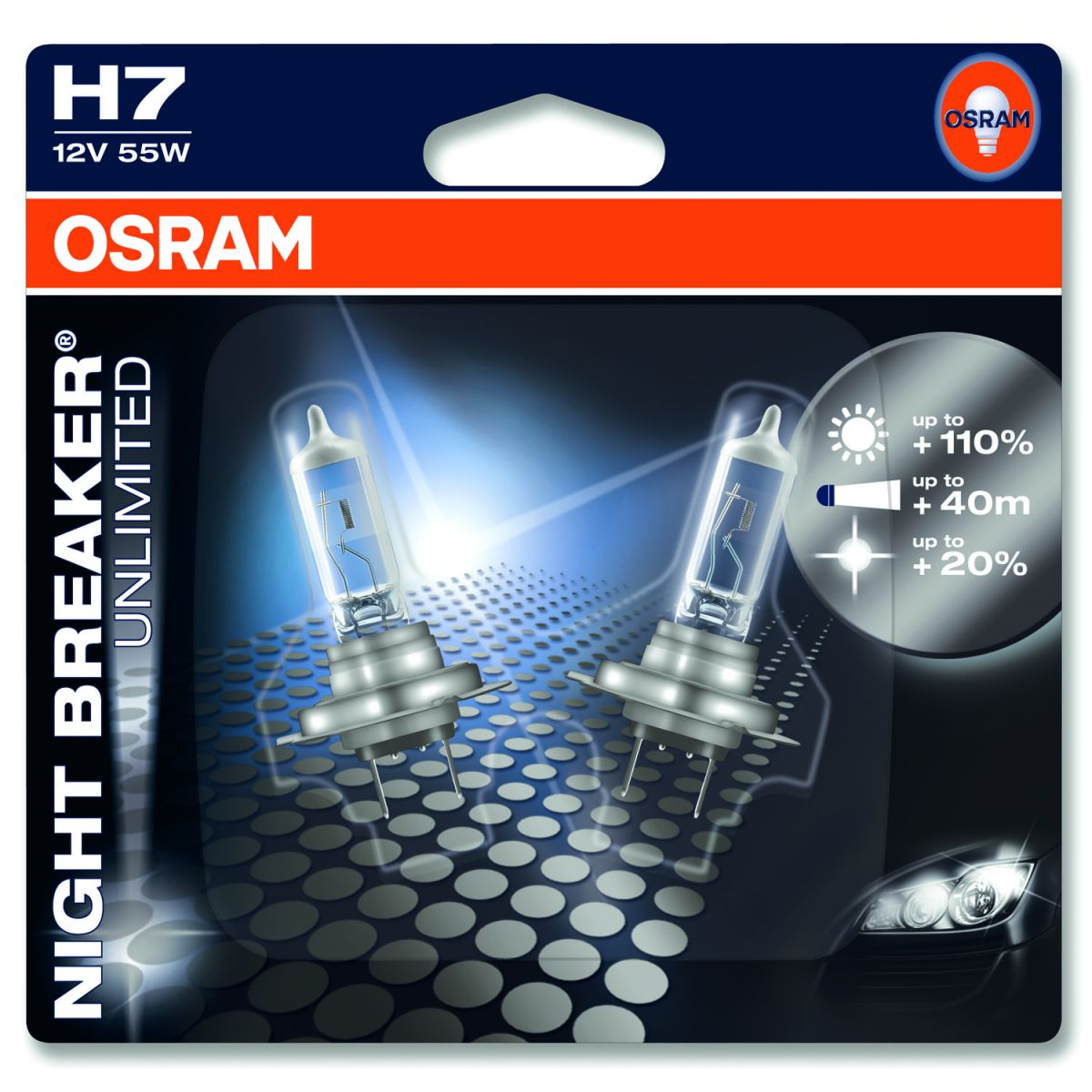 Комплект ламп OSRAM H7 NIGHT BREAKER UNLIMITED 110% (55W 12V PX26D)