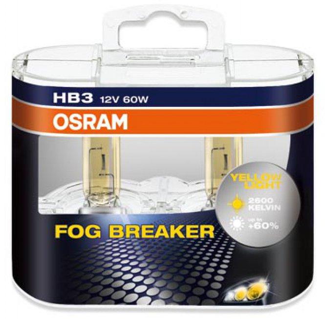Комплект ламп OSRAM  H3 FOG BREAKER 60% (12V 55W PK22s, для плохих погодных услдовий)