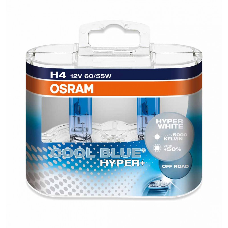 Комплект ламп OSRAM H4 COOL BLUE HYPER PLUS 50% (12V 60/55W P43t)