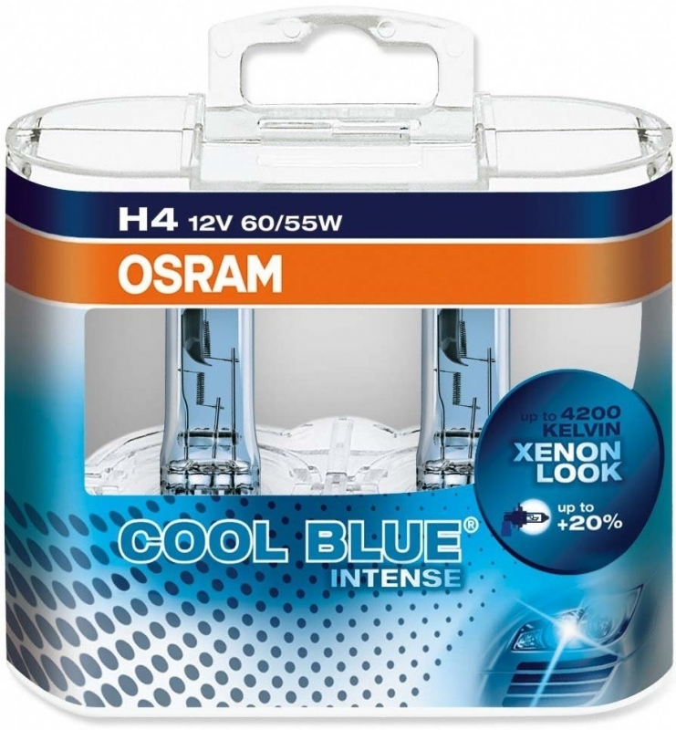 Комплект ламп OSRAM H4 COOL BLUE INTENSE 20% (12V 60/55W P43T)