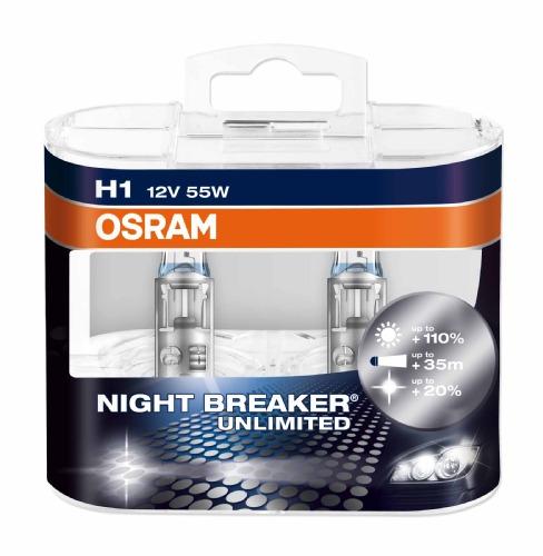 Комплект ламп OSRAM H1 NIGHT BREAKER UNLIMITED 110% (55W 12V P14.5S)