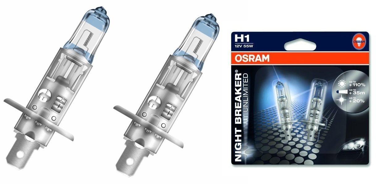 Комплект ламп OSRAM H1 NIGHT BREAKER UNLIMITED 110% (55W 12VP14.5S) блистер