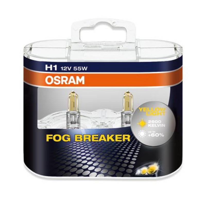 Комплект ламп OSRAM H11 FOG BREAKER 60% (12V 55W PGJ19-2, для плохих погодных условий)