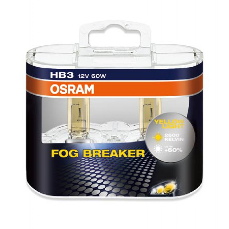 Комплект ламп OSRAM HB3 FOG BREAKER 60% (12V 60W P20d, для плохих погодных условий)