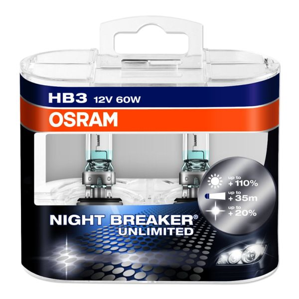 Комплект ламп OSRAM HB3 NIGHT BREAKER UNLIMITED 110% (60W 12V P20D)