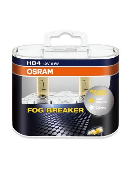 Комплект ламп OSRAM HB4 FOG BREAKER 60% (12V 51W P22d, для плохих погодных условий)