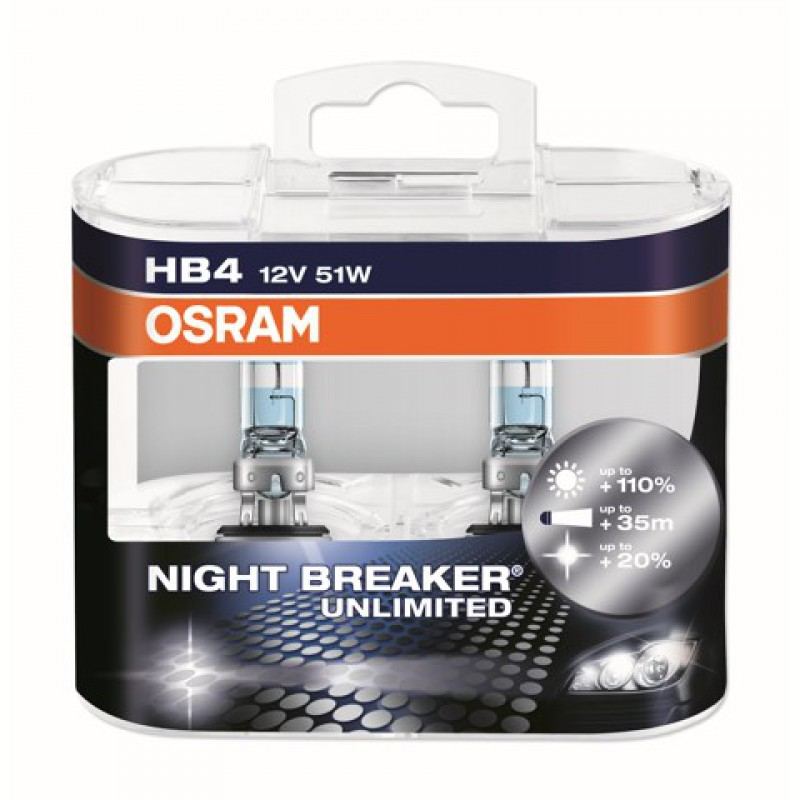 Комплект ламп OSRAM HB4 NIGHT BREAKER UNLIMITED 110%(51W 12V P22D)