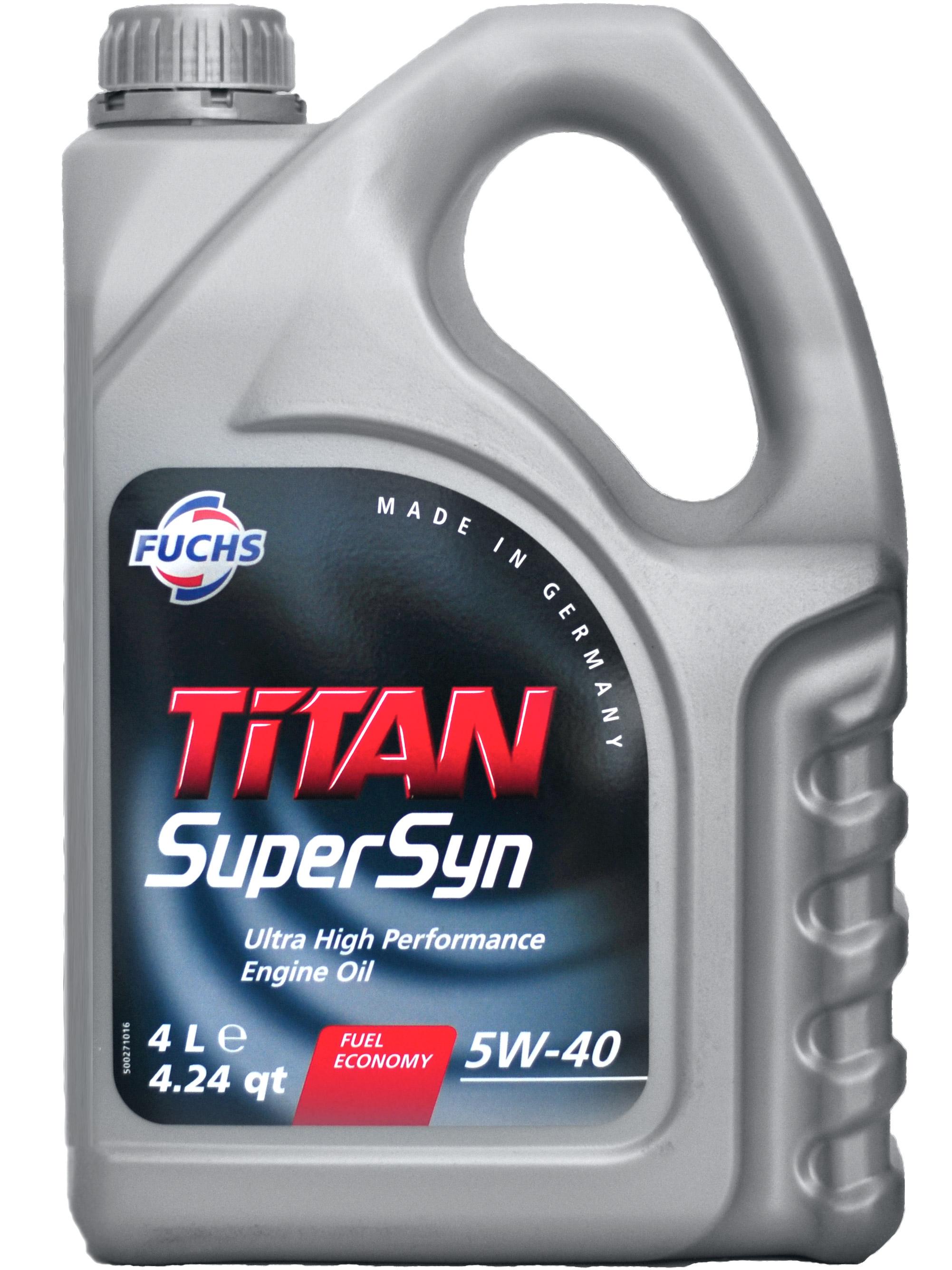 Масло моторное Синтетическое 4л - FUCHS TITAN Supersyn 5W40
