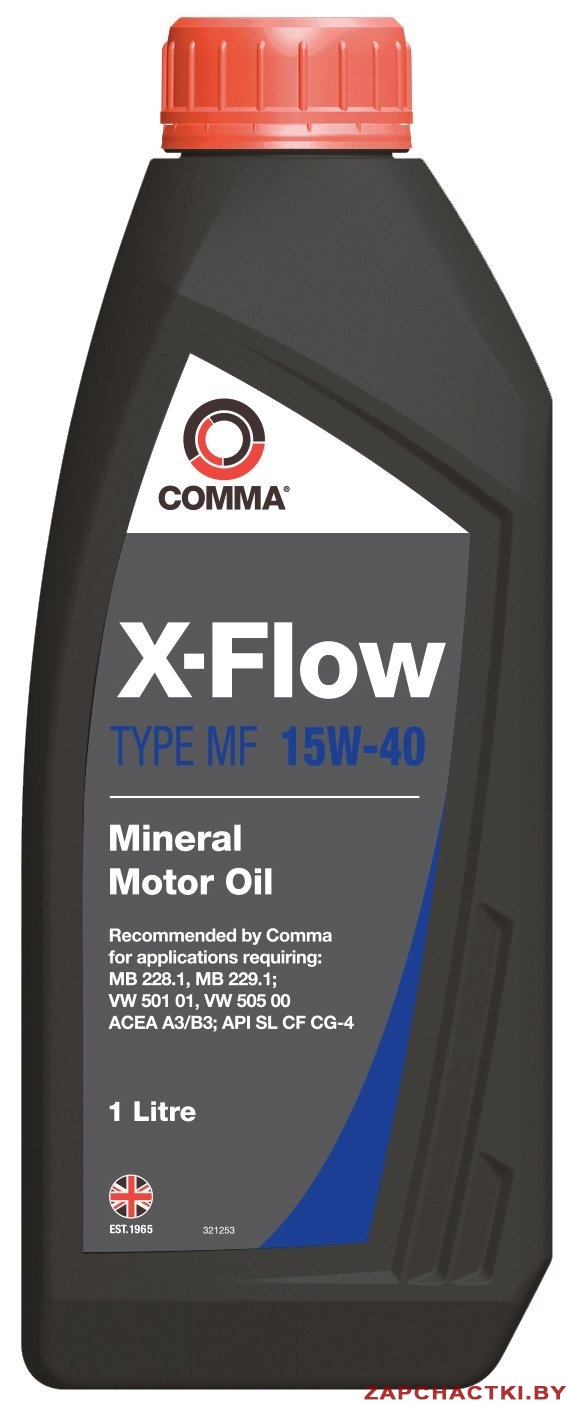 Масло моторное Минеральное 1л - COMMA 15W40 X-FLOW TYPE MF