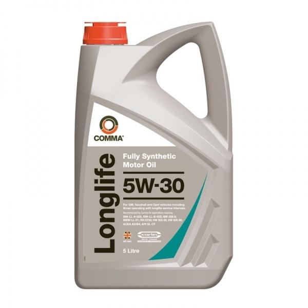 Масло моторное Синтетическое 5л - COMMA 5W30 LONG LIFE