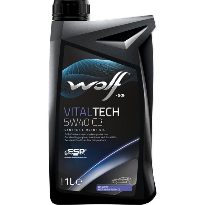 WOLF VITALTECH 5W40 PI C3 1л  MB 229.31 VW 505.01/502.00/505.00 FORD WSS-M2C 917-A BMW LONGLIFE-04 PORSCHE A40 RENAULT RN 0700, RN 0710, API SM/CF ACEA A3/B4/C3