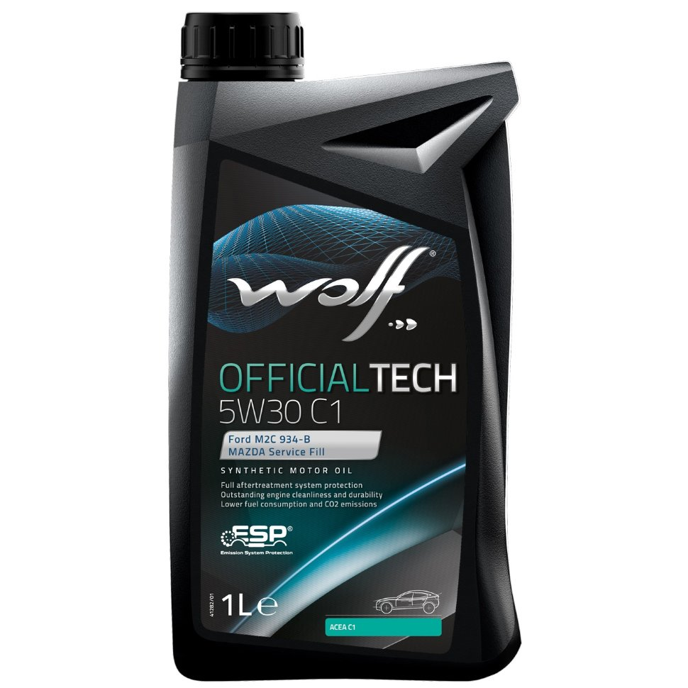 WOLF OFFICIALTECH 5W30 С1 1Л FORD WSS-M2C 934B JASO 2005 DL-1 MAZDA Service Fill, ACEA C1