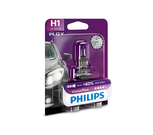 Автолампа Philips H1 Vision Plus +60% (12V 55W P14,5s)