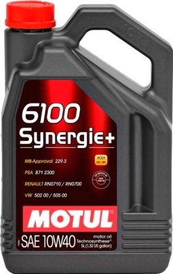Масло моторное полусинтетическое - MOTUL 6100 SYNERGIE+ 10W-40 5л